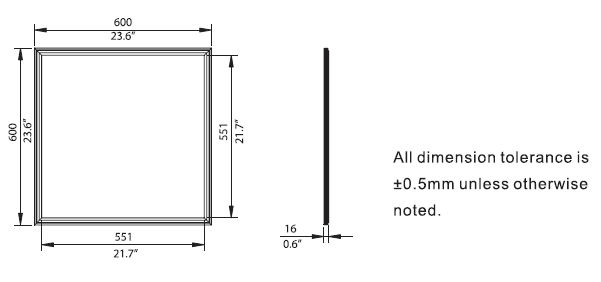 LED Panel 600mm x 600mm dimentions