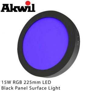Akwil 15W RGB 225mm Black Surface Mount Downlight Fitting 24V Constant Voltage