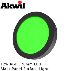 Akwil 12W LED RGB 170mm Black Surface Mount Downlight Panel Fitting 24V Constant Voltage