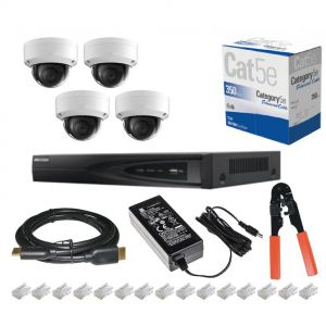 Complete HD 4ch 2TB NVR CCTV System with POE System With 4x1080p 5MP Cameras 305m Black Outdoor CAT5 Connectors Tool and PSU