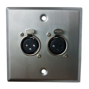 Twin Female XLR Single Gang Metal Plate