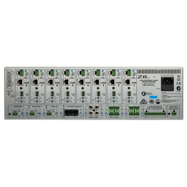 Cloud Z8MK4 8 Zone Venue Mixer 2 UnBal 4 Bal Music 2 local mic 8 remote facilities inputs 8 output zones