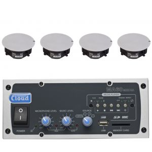 Cloud Speaker System MA60-Media 4 Input 60W Mixer Amplifier with 4x CS-C5 Ceiling Speakers