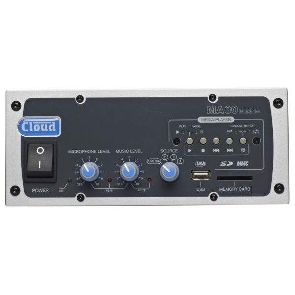 Cloud MA60-Media - Mixer Amplifier 60W Line 4 Ohm Output - Optional 100V Line Transformer