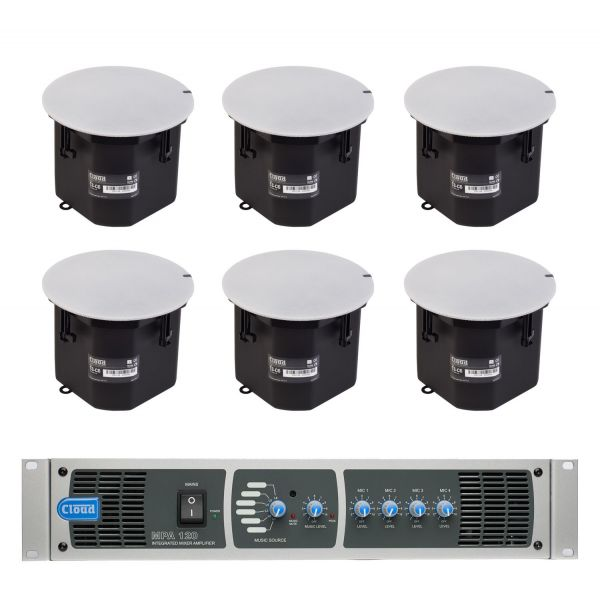 Cloud MPA120-SP Speaker System  6x CS-C6 Ceiling Mounted Speakers with Mixer Amplifier 120W 6 Line Inputs 4 Mic Inputs