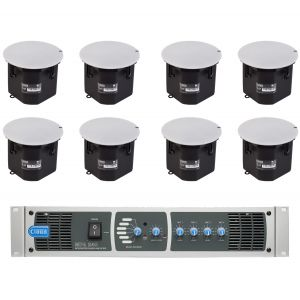 Cloud Speaker System MPA240 8 x CS-C6 Ceiling Mounted Speakers Mixer Amplifier 240W 6 Line Inputs 4 Mic Inputs