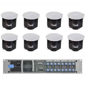 "Cloud Speaker Media System 8x CS-C8 8"" Ceiling Speakers  46-120TMedia 4 Zone 4x 120W 100V Line Mixer Amplifier MP3 Player"