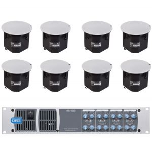 Cloud 100V Line Speaker System 8x CS-C8 8 Ceiling Mounted Speakers with 46-120T 4 Zone 4x 120W Mixer Amplifier