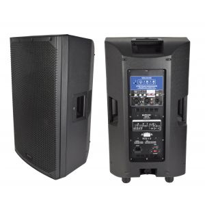 2x 350W 15 Inch Powered Pair of Active Portable PA speakers with Bluetooth Wireless Connection and Stereo Link Capability