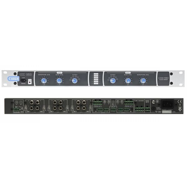Cloud CX163 2 zone stereo mixer with mono utility output. 6 stereo line inputs and Music mute