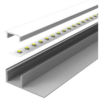 2m Aluminium LED Strip Profile for Tiled Steps with Flange recessed into 10mm