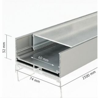 ALU-7432 2.5m Aluminum Profile For LED 74mm x 32mm IP20 Suitable For Surface, Ceiling or Wall Mounted