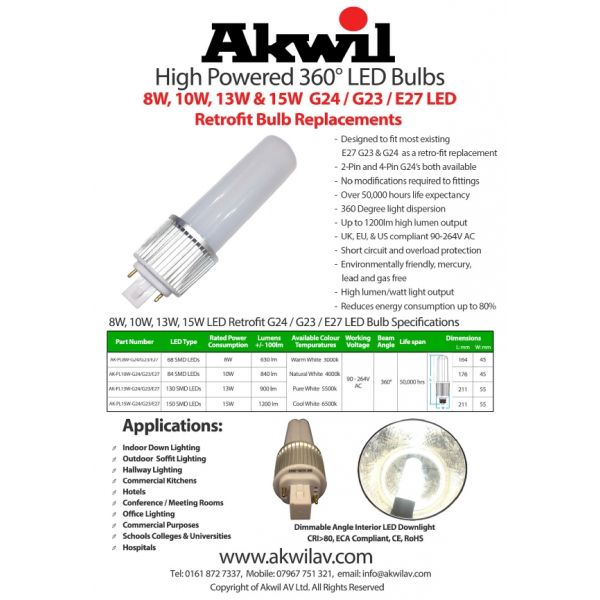 360 degree G24 8w 10w 13w 15w led bulb specifications