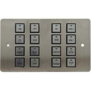 Wall-16-PODULE - 16 button wall podule on 2G Stainless UK panel, with UK PSU.