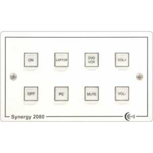 Synergy E2083 Ethernet enabled 8 button controller on dual gang panel, with UK psu. Add /EU for EU psu