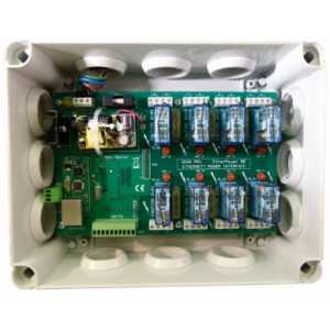 EtherPower 80 8 x 10A, Ethernet & RS232 controlled power relays in wall mounting enclosure. For the control of power and lightin