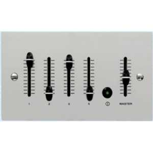Mode Slider Dimmer Outstation (4 Channels & Master, Anodised Silver, Twin Gang)