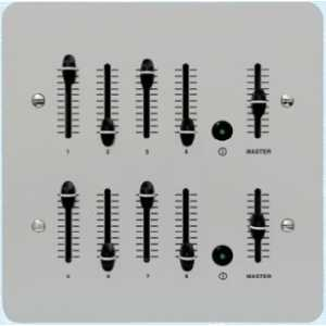 Mode Slider Dimmer Outstation (8 Channels & Master, Anodised Silver, Eight Gang)