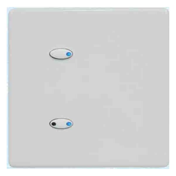 Mode Evolution Switch Plate - White (2 White Buttons, Single Gang, excluding Fascia Plate)