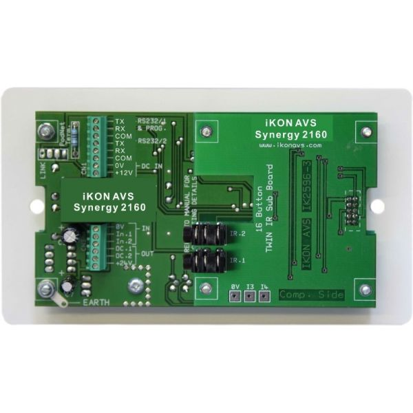 Synergy 2160 16 button controller on dual gang panel, with UK psu