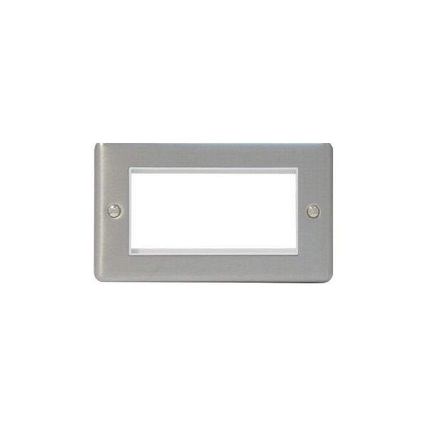 EP-100FSB Brushed stainless double gang euro frame with 100mm space