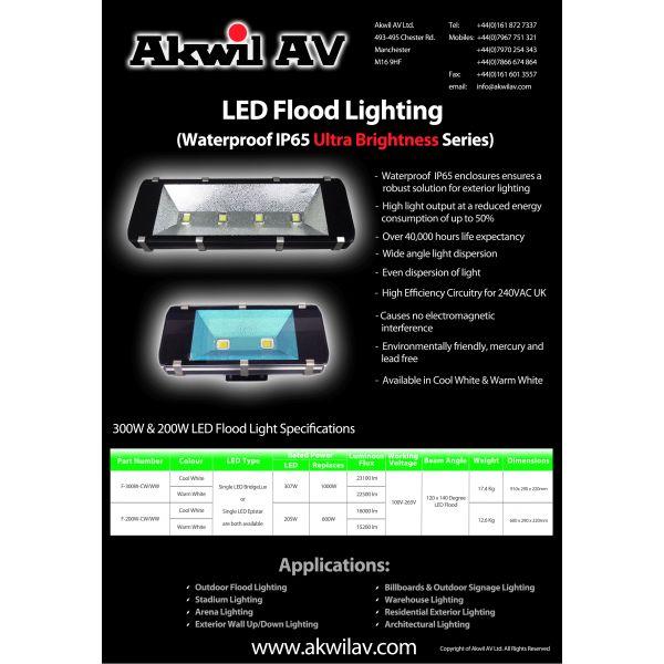 300W LED Flood Light 23100lm Outdoor IP65 100-265V 4pcs x 75 Watt LED Flood High Lumen LEDs