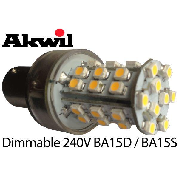26mm Dimmable 240V 2.5W LED BA15D SBC or BA15S or E14 39 x 3528 LED Corn Light Bulb 240lm BA15 or B15 Equivalent to 25W