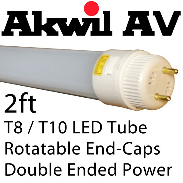 Akwil T8 / T10 - 2FT 9W LED Tubes - 96 x LED 3014 - Direct Retrofit Replacement for Compact Fluorescent Tubes T8 - T10