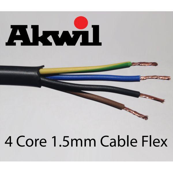 100m 1.5mm Stranded 4 Core Cable Flex Drum