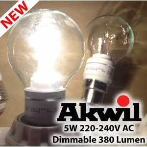 New AK-5W Akwil Dimmable 5W 380lm Sharp LED True-fit, 330 Degree, Frosted High Lumen Light Bulb, 0-265V AC