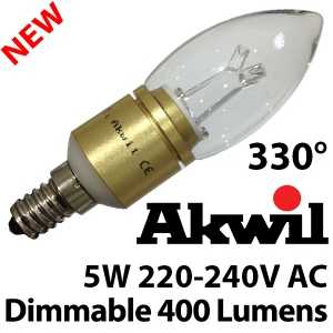 New AKC-5W B15 & E14 Akwil Dimmable LED Candle Light Bulb 240V 5W 400lm Sharp LED Bulb 330 Degree Clear or Frosted
