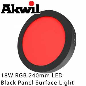 Akwil 18W LED RGB 240mm Black Surface Mount Downlight Fitting 24V Constant Voltage