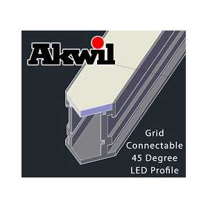 1.6m Akwil Custom X Connectable Aluminium 45 Degree Surface Profiles for LED Strips with diffusers