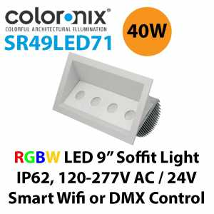 "Coloronix SR49LED71 40W RGBW LED 4""x 9"" Recessed Wall Wash Light IP62 Weather Proofing Philips LED's"
