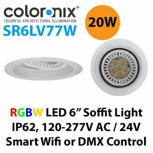 Coloronix SR6LV77W 20W RGBW LED 6 Inch Recessed Adjustable Dimmable Soffit Light IP62 Philips LEDs