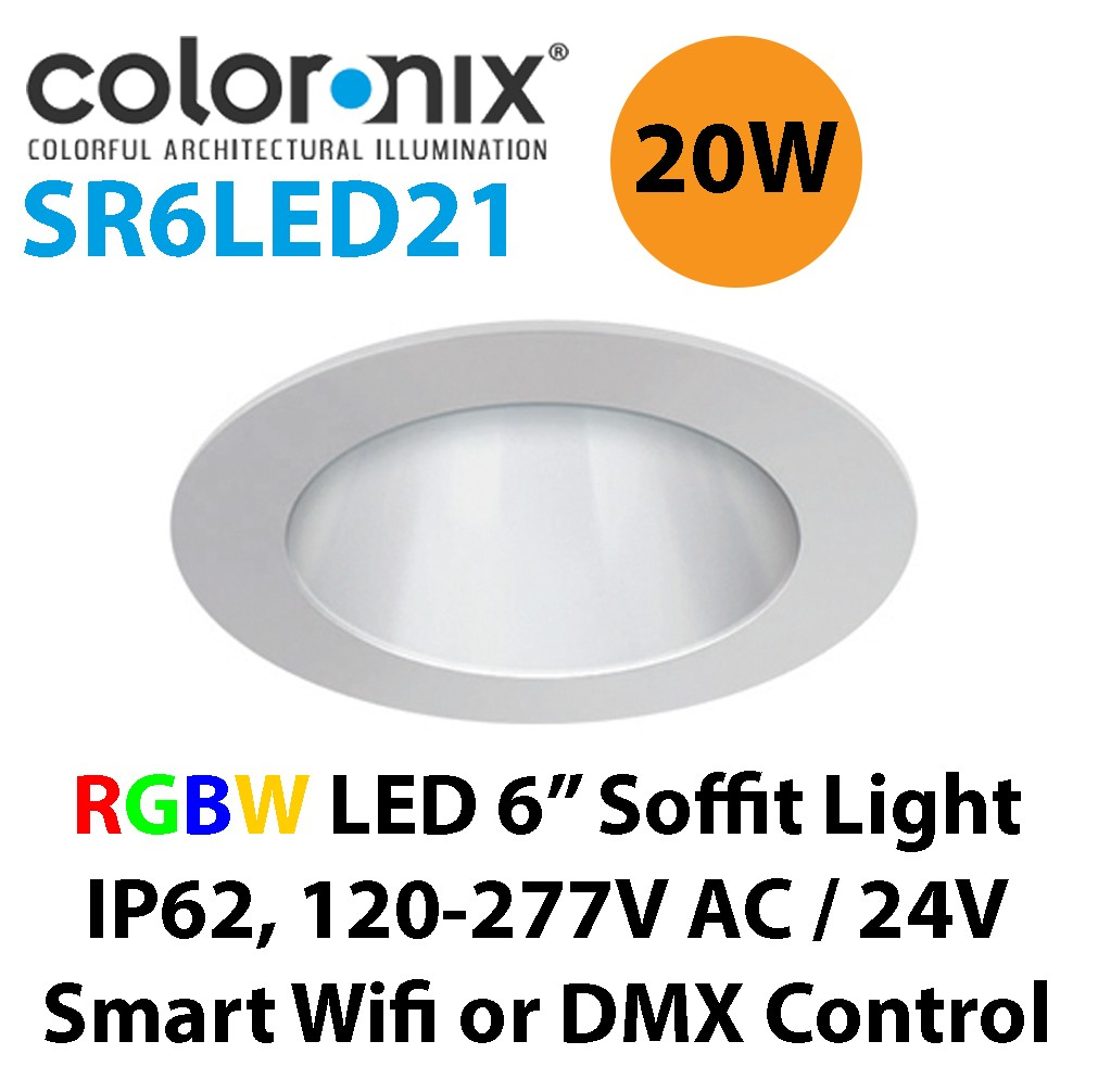 Coloronix SR6LV21 20W 6 Inch Recessed LED RGBW Downlight 24V DC or ...