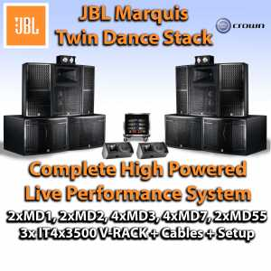 JBL Marquis Twin Dance Stack Nightclub Sound System with MD1 MD2 MD3 MD7 IT4x3500 VRACK