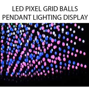 3D LED Matrix Pixel Balls Complete Vertical Pendant Lighting Grid System Colour Display 360 degree RGB DMX Vertical Pendant Rope