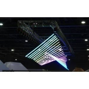 RGB LED DMX Kinetic Pixel Tube 2m Pendant with 2 Motorised Winchs 0-1.5m or 0-4m and Colour Tube 0.2m per sec DMX512 8CH