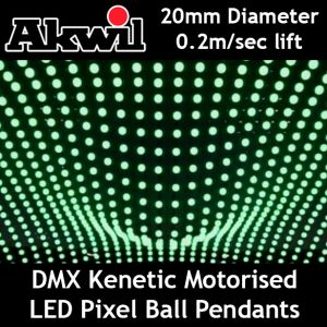 Kinetic RGB LED DMX Pixel Ball Pendant System 20cm High Speed Motorised Winch and Colour Ball 0.5m per sec DMX512  8CH