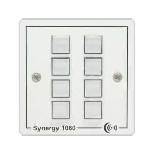 Synergy 1081 8 button controller on single gang panel with 2x RS232 Contact Closures and UK PSU