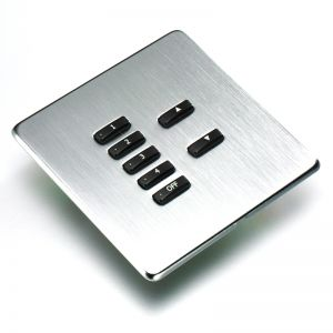 Rako Brushed Stainless Steal Screwless Fascia for Wall Wired Plates WLF-XXX-SS