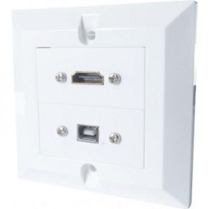HDMI and USB Single Gang Wall Plate Connectors and Back Box
