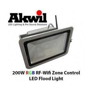 Akwil 200W LED RGB Flood Light RF-WiFi Multi-Zone Controlled 24V