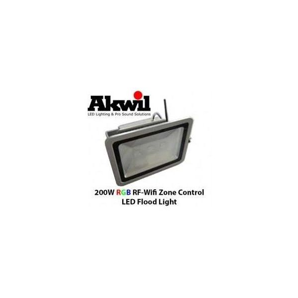 Akwil 200W LED RGB Flood Light RF-WiFi Multi-Zone Controlled 24V