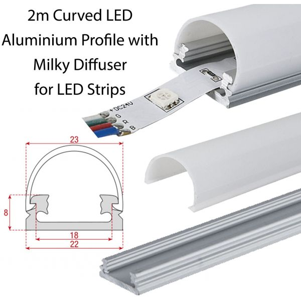 2m Curved LED  Aluminium Profile with Milky Diffuser for LED Strips