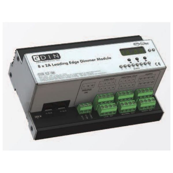 Mode DIN-02-08 PLUS eDIN 8x2A Dimmer (8 channels of 2 Amps - Maximum Module Load 10A)