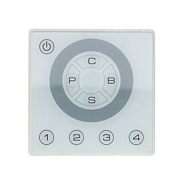 RGB DMX Wall Plate Controller in White 3 Channel with Presets and 3x2A RGB 12-24V Output
