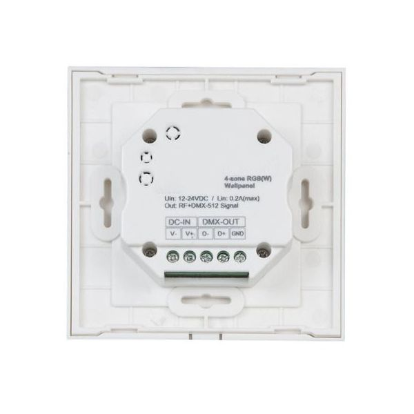 RGB DMX Wall Panel Single Zone RF-DMX Wall Plate Controller in White 4 Channel with 4 Scene Presets
