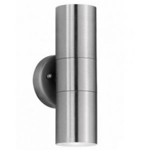 Brushed Chrome Uplight Downlight GU10 Wall Fitting for Outdoor Use